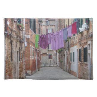 Cuerda para tender la ropa en Venecia Italia Mantel Individual