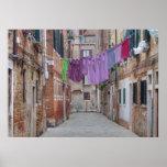 Cuerda para tender la ropa en Venecia Italia Póster