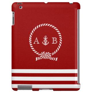 Cuerda roja y ancla náuticas cones monograma funda para iPad