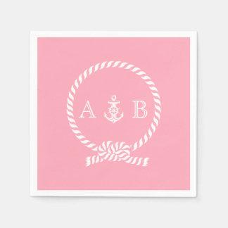 Cuerda rosada y ancla náuticas cones monograma servilleta de papel
