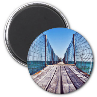 Cuerda temática, un paseo marítimo de madera imán redondo 5 cm