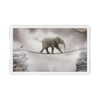 Cuerda tirante de los paseos del elefante del bebé bandeja rectangular