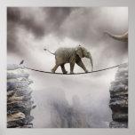 Cuerda tirante de los paseos del elefante del bebé póster