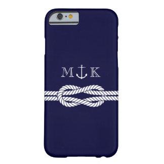 Cuerda y monograma náuticos del ancla en marina de funda de iPhone 6 barely there