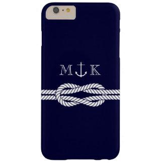 Cuerda y monograma náuticos del ancla en marina de funda de iPhone 6 plus barely there