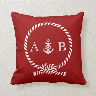 Cuerda y monograma náuticos rojos del ancla cojin