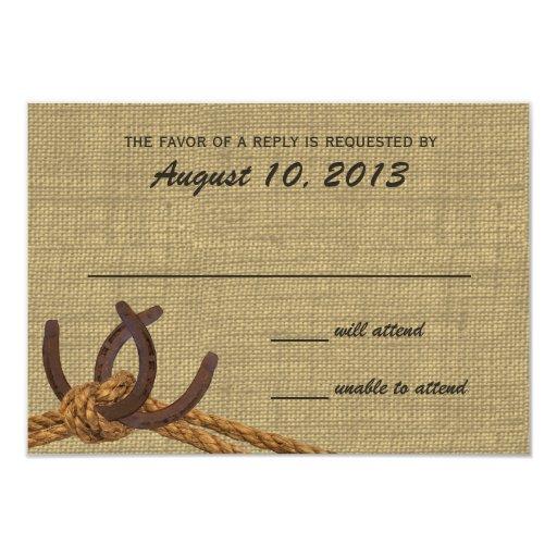 Cuerda y respuesta occidentales de los zapatos del invitación 8,9 x 12,7 cm