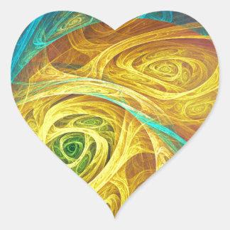 Cuerno de barítono del fractal pegatina en forma de corazón