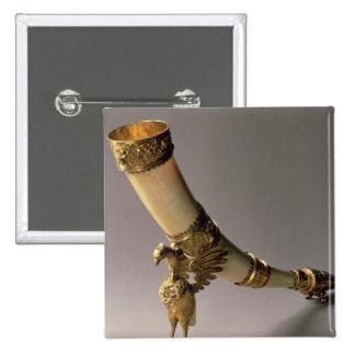 Cuerno de consumición de marfil del colmillo con l pin cuadrada 5 cm