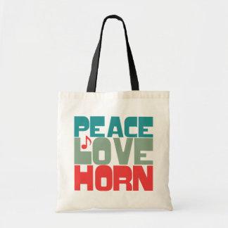 Cuerno del amor de la paz bolsa de mano