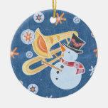 Cuerno del muñeco de nieve que hace música del día adorno navideño redondo de cerámica
