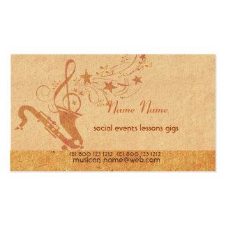 Cuerno del saxofón de la música tarjetas de visita