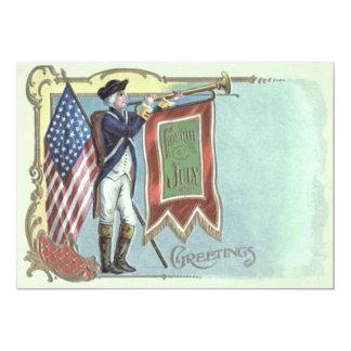 """Cuerno revolucionario de la bandera americana del invitación 5"""" x 7"""""""