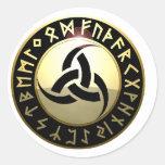 Cuerno triple de Odin Etiqueta Redonda