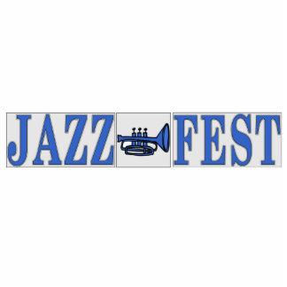 Cuerno y letras azules del Fest del jazz Fotoescultura Vertical