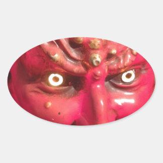 Cuernos del infierno del demonio de Satan del Pegatina Ovalada