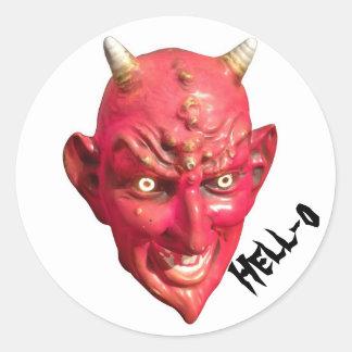 Cuernos del infierno del demonio de Satan del Pegatina Redonda