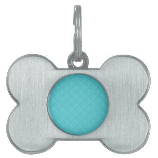 Cuero acolchado aguamarina placa de nombre de mascota