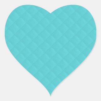 Cuero acolchado aguamarina pegatina en forma de corazón