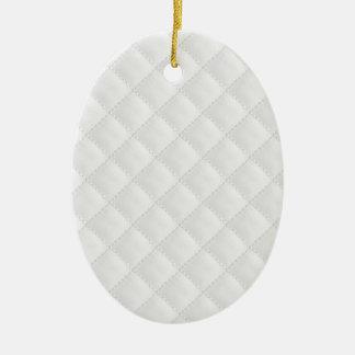 Cuero acolchado blanco lateral doble adorno navideño ovalado de cerámica