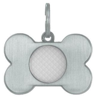 Cuero acolchado blanco placa de mascota