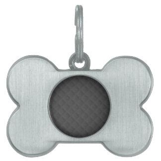 Cuero acolchado carbón de leña placa de nombre de mascota