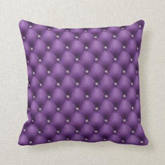 Cuero acolchado FALSA púrpura, diamante Cojín