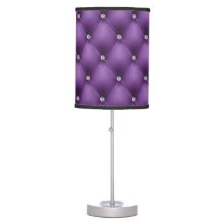 Cuero acolchado FALSA púrpura, diamante Lámpara De Mesa