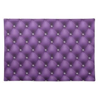 Cuero acolchado FALSA púrpura, diamante Manteles