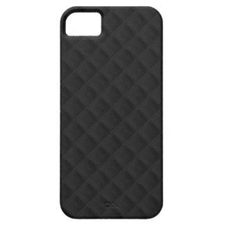 Cuero acolchado negro cosido hinchado funda para iPhone SE/5/5s