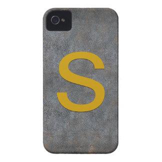Cuero apenado antigüedad personalizado monograma Case-Mate iPhone 4 cárcasas