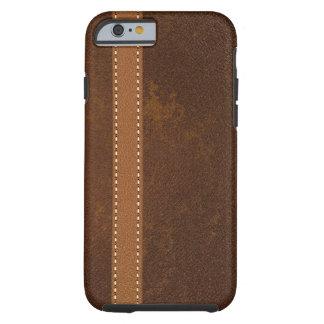 Cuero apenado de Brown con la correa cosida Funda Para iPhone 6 Tough