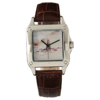 Cuero de Brown del cuadrado perfecto Reloj De Mano