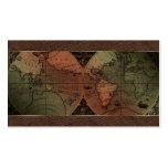 Cuero de Brown del globo del mapa del mundo del ag Plantilla De Tarjeta De Negocio