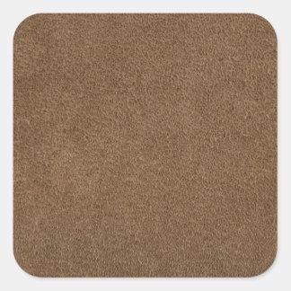 Cuero de Brown Pegatinas Cuadradas Personalizadas