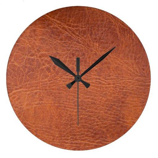 Cuero de Brown Reloj Redondo Grande