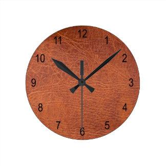 Cuero de Brown Reloj Redondo Mediano