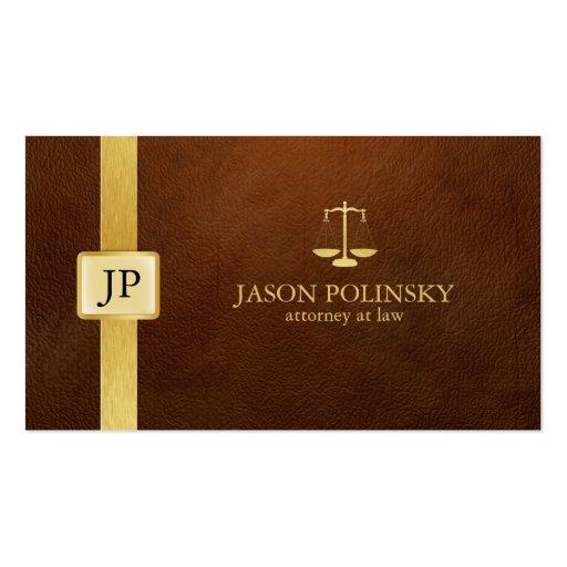 Cuero de Brown y abogado elegantes del oro en la Plantillas De Tarjeta De Negocio