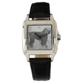 cuero de encargo del negro del cuadrado perfecto relojes