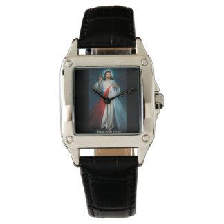Cuero de encargo del negro del cuadrado perfecto relojes de mano
