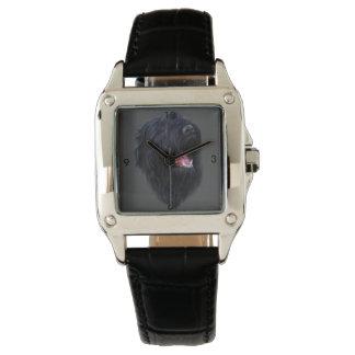 cuero de encargo del negro del cuadrado perfecto relojes de pulsera