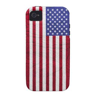 CUERO DE LA BANDERA DE LOS E.E.U.U. VIBE iPhone 4 CARCASA