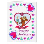 Cuero de la tarjeta del aniversario 3ro