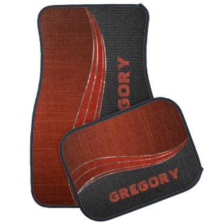Cuero de madera rojo del gris de Monogramed Alfombrilla De Auto