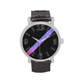 Cuero de papel colorido del negro de la raya de la relojes de pulsera