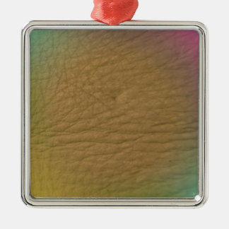 Cuero del arco iris adorno cuadrado plateado