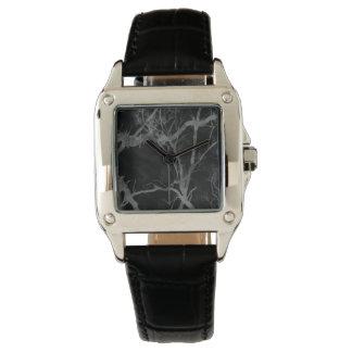 Cuero del negro del cuadrado perfecto del sueño y relojes de pulsera