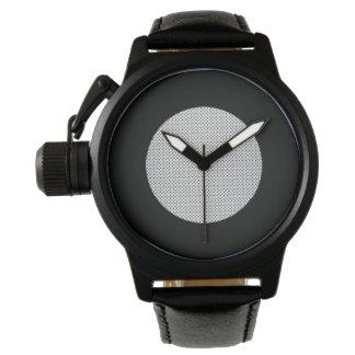 Cuero del negro del fondo de la placa de plata relojes de pulsera