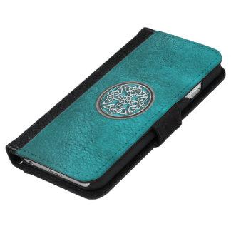 Cuero del trullo y caja céltica de la cartera del funda cartera para iPhone 6