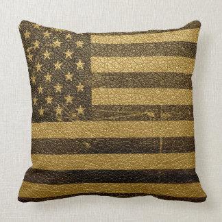 Cuero del vintage de la bandera americana almohadas